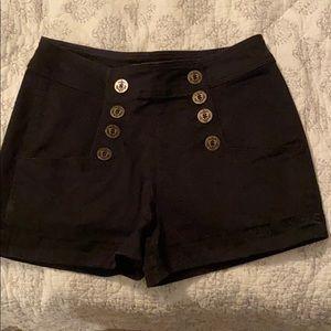 Black Express high waisted button shorts